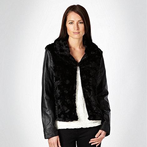RJR.John Rocha - Black faux fur panelled jacket