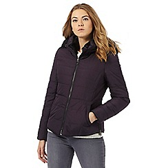 RJR.John Rocha - Dark purple padded faux fur hood trim jacket