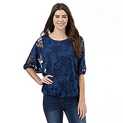 RJR.John Rocha - Dark blue floral burnout top