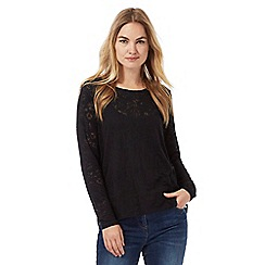 RJR.John Rocha - Black burnout leaf long sleeved top with cami