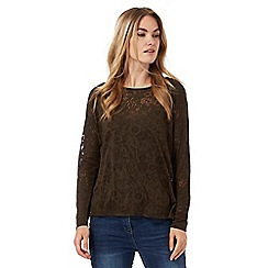 RJR.John Rocha - Khaki burnout leaf long sleeved top with cami