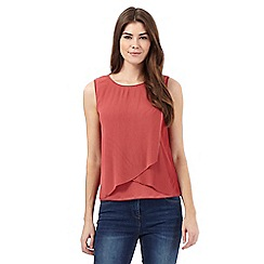 RJR.John Rocha - Dark pink pleated overlay top