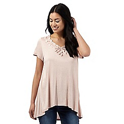 RJR.John Rocha - Light pink dipped hem applique top