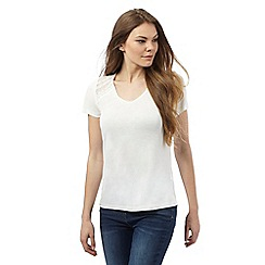 RJR.John Rocha - Ivory cut-out yoke top