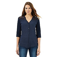 RJR.John Rocha - Navy lace pleated shirt