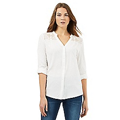 RJR.John Rocha - Ivory lace pleated shirt