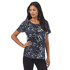 RJR.John Rocha - Dark grey tree print self-tie neck top