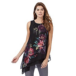 RJR.John Rocha - Black asymmetric floral print sleeveless top