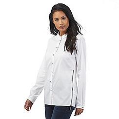 RJR.John Rocha - White collarless zip side shirt