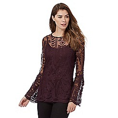 RJR.John Rocha - Dark purple embroidered mesh top