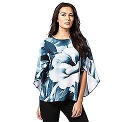 RJR.John Rocha - Teal batwing sleeve floral print top