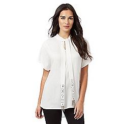 RJR.John Rocha - White embellished tie short sleeved top