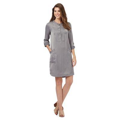 RJR.John Rocha Silver satin collarless shirt dress