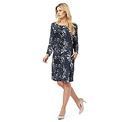 RJR.John Rocha - Dark grey floral cold shoulder dress