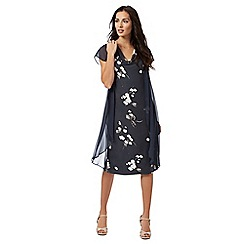 RJR.John Rocha - Dark grey 'Evie' chiffon overlay floral dress