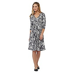 RJR.John Rocha - Grey leaf print fit and flare dress