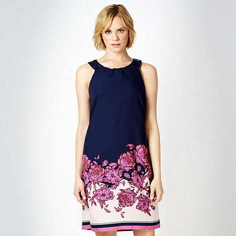 RJR.John Rocha - Designer navy floral border printed tunic dress