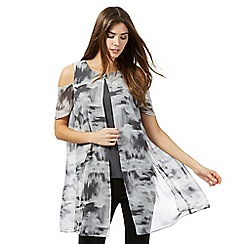 RJR.John Rocha - Light grey smudge print layered top