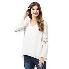 RJR.John Rocha - Ivory lace insert flared sleeve top
