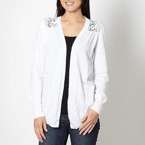 Rocha.John Rocha - Designer white lace back cardigan