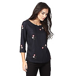 RJR.John Rocha - Navy flower embroidered top