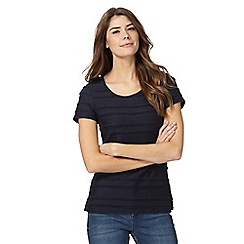RJR.John Rocha - Navy scalloped trim striped top