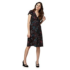 RJR.John Rocha - Black floral print jersey tea dress