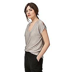 RJR.John Rocha - Grey textured V neck cold shoulder t-shirt