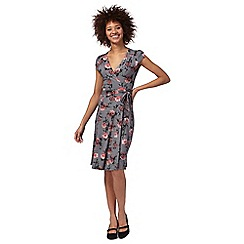 RJR.John Rocha - Grey oriental blossom wrap dress