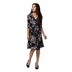 RJR.John Rocha - Navy floral print gathered dress