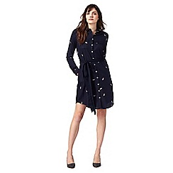 RJR.John Rocha - Navy feather embroidered shirt dress