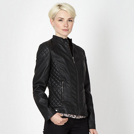 RJR.John Rocha - Black faux leather quilted biker jacket