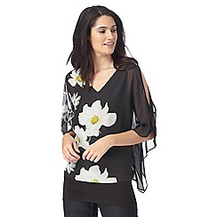 RJR.John Rocha - Black daisy print cold shoulder top