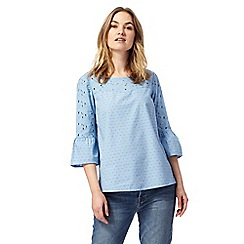RJR.John Rocha - Blue textured flute sleeve top