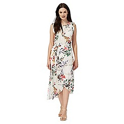RJR.John Rocha - Cream floral print split hem midi dress