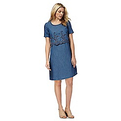 RJR.John Rocha - Blue floral embroidered denim dress