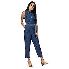 RJR.John Rocha - Blue embroidered sleeveless chambray jumpsuit