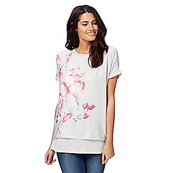 RJR.John Rocha - Light grey floral print mock layered top