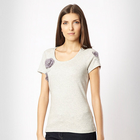 RJR.John Rocha - Grey flower applique t-shirt