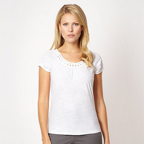 RJR.John Rocha - White circle trim organic cotton t-shirt