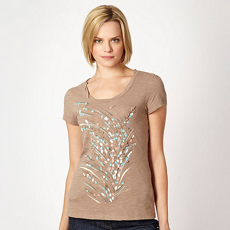 RJR.John Rocha - Natural embellished floral t-shirt