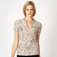 Natural floral lace trimmed organic cotton top