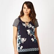 Navy mix and match print top