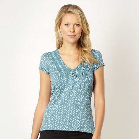 RJR.John Rocha - Designer light turquoise bow printed top