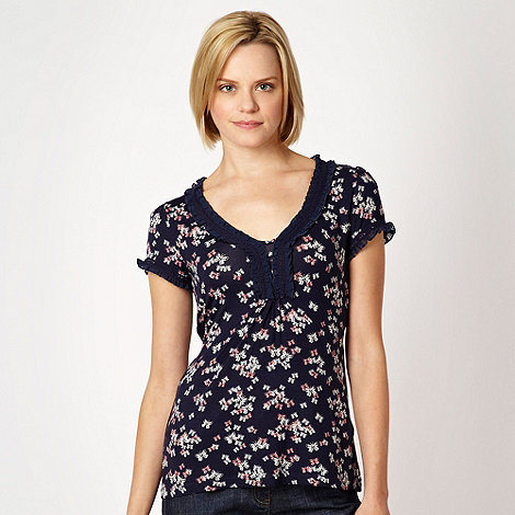 RJR.John Rocha - Navy butterfly printed short sleeved top