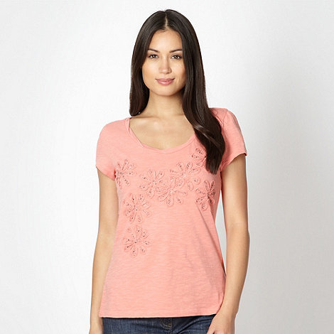 RJR.John Rocha - Designer mid rose beaded flower t-shirt