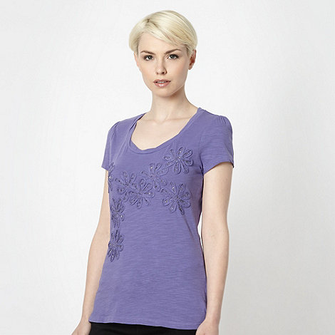 RJR.John Rocha - Designer purple beaded flower t-shirt