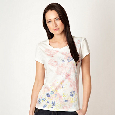 RJR.John Rocha - White twisted neck paisley printed top