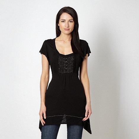 RJR.John Rocha - Designer black beaded pintuck tunic top
