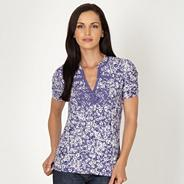 Designer purple floral crochet t-shirt